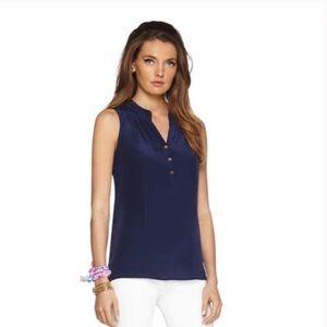 Lilly Pulitzer Houston Navy Sleeveless Silk Top